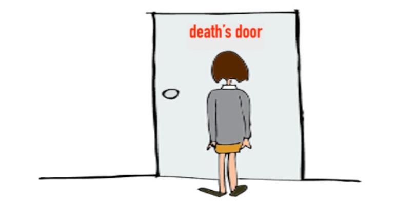 معنی فارسی اصطلاح: At death's door