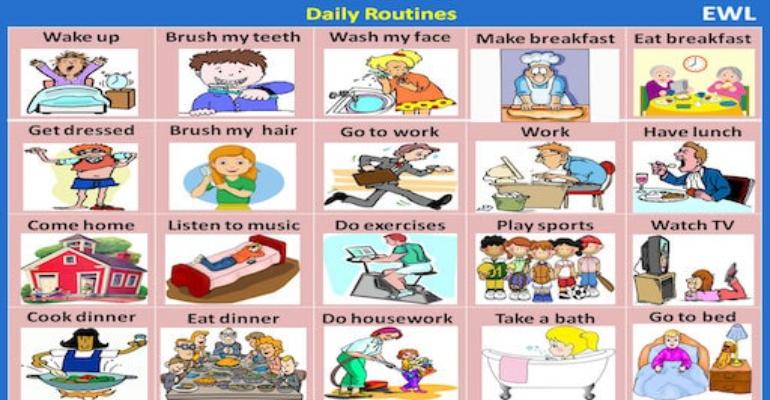 لغات پایه زبان انگلیسی - کارهای روزمره به انگلیسی (Daily routine)