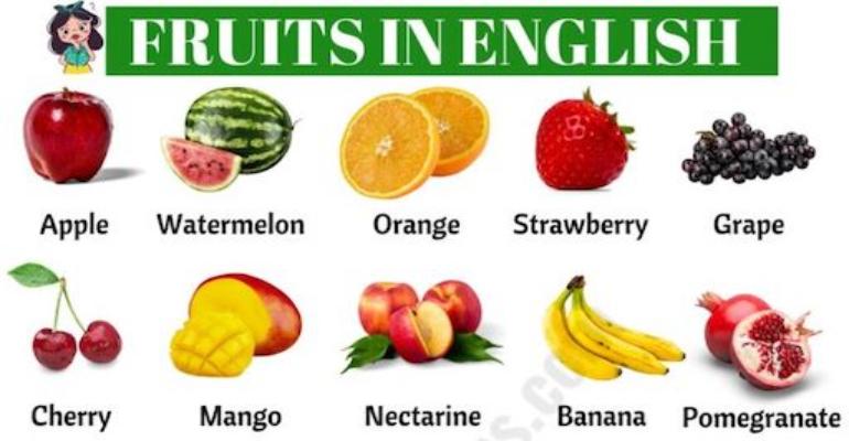 لغات پایه زبان انگلیسی -میوه به انگلیسی (Fruit)