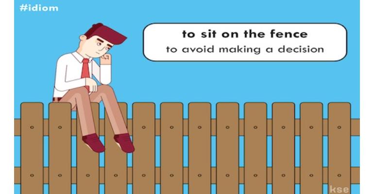 معنی فارسی اصطلاح: Sit on the fence